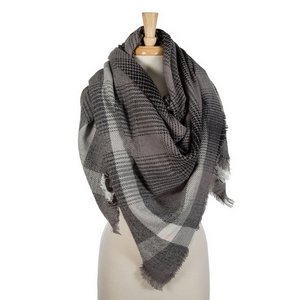 """Gray and white plaid blanket scarf with frayed edges. 100% acrylic. Measures 56"""" x 56"""" in size."""