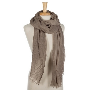 """Taupe lightweight open scarf with frayed edges. 100% cotton. 72"""" x 45"""" in size."""