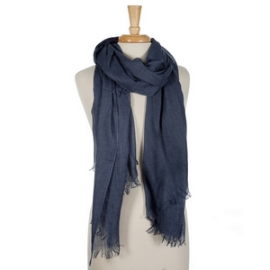 """Navy blue lightweight open scarf with frayed edges. 100% cotton. 72"""" x 45"""" in size."""