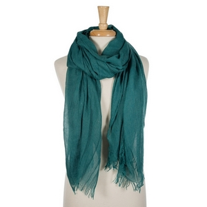 """Teal lightweight open scarf with frayed edges. 100% cotton. 72"""" x 45"""" in size."""