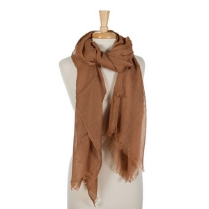 """Rust lightweight open scarf with frayed edges. 100% cotton. 72"""" x 45"""" in size."""