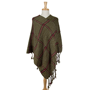 Olive green poncho with a plaid design and tassel accents. 100% acrylic. One size fits most.