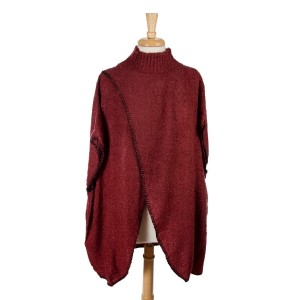 Burgundy short sleeve, mock turtleneck sweater poncho with an open front. 100% acrylic. One size fits most.