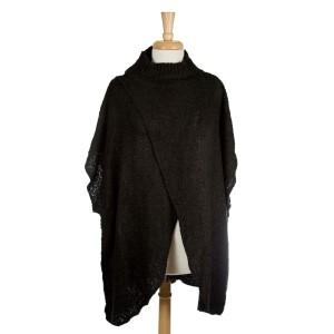 Mock turtleneck poncho with an open front. 100% acrylic. One size fits most.