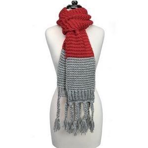 """Heavyweight, knit, open scarf with a two tone pattern and tassels on the ends. Measures 86"""" x 7"""" in size and is perfect for gameday!"""