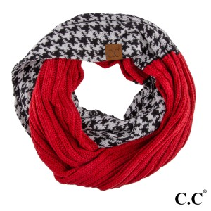 """C.C SF-12  Houndstooth ribbed infinity scarf  - 100% Acrylic - One size fits most - W:13"""" X L:60"""" - Matches C.C HAT-12 and CG-12"""