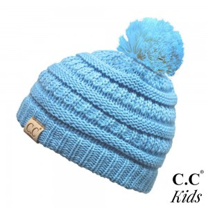 C.C YJ-847-POM-KIDS Kids Solid Knit Pom Beanie  - One size fits most Kids  - 100% Acrylic