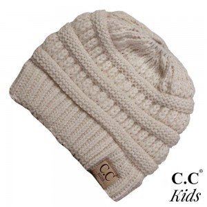 "C.C MB-847-KIDS Solid color messy bun beanie for kids  - 100% Acrylic - Band circumference is approximately: 16"" unstretched  18"" stretched - Approximately 6"" long from crown to band - Fit varies based on child's head height and shape"