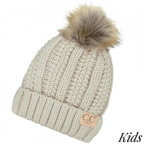 C.C KIDS-820 Kids Fur Lined Chunky Knit Faux Fur Pom Beanie  - 100% Acrylic - One size fits most Kids (5-11)