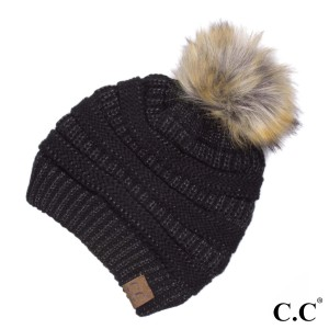 C.C HAT-43  Metallic ribbed beanie with faux fur pom  - 100% Acrylic - One size fits most