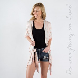 "Do everything in Love brand lightweight sheer stripe tassel trim kimono.   - One size fits most 0-14 - Approximately 37"" L - 100% Viscose"