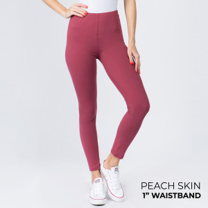 "Women's New Mix Brand 1"" Waistband Solid Peach Skin Leggings.  - 1"" Elastic Waistband - Full-Length - Inseam approximately 28"" - One size fits most 0-14 - 92% Polyester 8% Spandex"