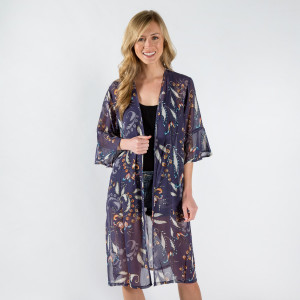 Floral print lightweight, flutter sleeve kimono. 100% polyester. One size fits most 0-14.