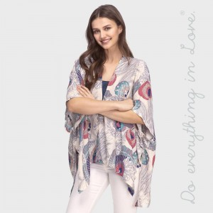 "Do everything in Love brand lightweight floral print short kimono.  - One size fits most 0-14 - Approximately 28"" L - 100% Viscose"