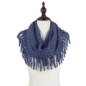 "Mini Tube Knit Scarf Featuring Fringe Tassels.  - Approximately 27"" x 12"" Loop - 100% Acrylic"