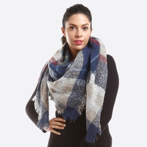 Soft Knit Plaid Blanket Scarf.  - 100% Acrylic