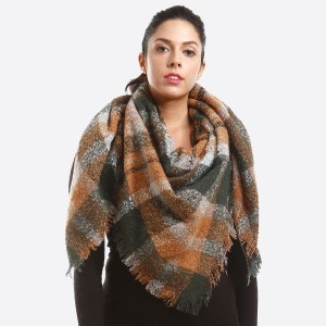 Soft Knit Plaid Blanket Scarf.  - 100% Acrylic