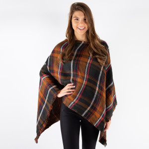 "Plaid Print Poncho with Frayed Edges.   - One size fits most 0-14 - Approximately 36"" L - 100% Acrylic"