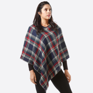 """Plaid Print Poncho with Frayed Edges.   - One size fits most 0-14 - Approximately 36"""" L - 100% Acrylic"""