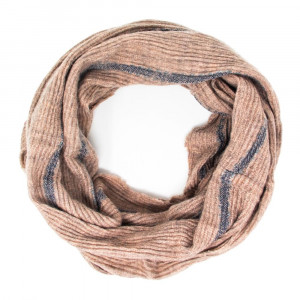 Solid color infinity scarf with stripe details.  - 100% Acrylic