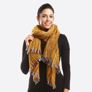 Multicolor textured scarf.  - 100% Polyester