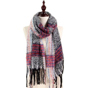 Soft touch plaid scarf with fringe. 50% acrylic and 50% polyester.