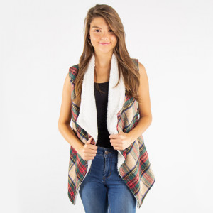 """Tartan Plaid Sherpa Vest with Pockets.  - Pockets - One size fits most 0-14 - Approximately 24"""" Long  - 100% Polyester"""