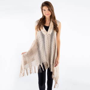 Open knit vest with faux fur neck trim and fringes  - One size fits most 0-14 - 100% Acrylic