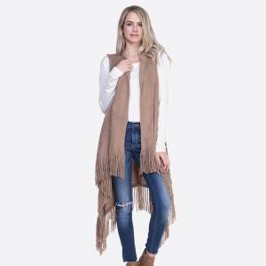 """Solid knit vest with fringes.  - One size fits most 0-14 - Approximately 43"""" in length, longest length 47"""" - 100% Acrylic"""