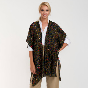 """Leopard print long kimono. 100% viscose. L: 35.4% x W: 35.4"""""""