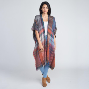 Nice long heavyweight plaid kimono. 100% acrylic.   One size fits most.