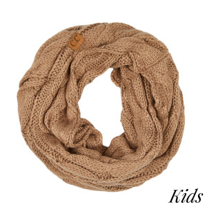 "C.C SF-800 KIDS Cable knit infinity scarf for kids  - 100% Acrylic - W: 9"" X L: 51"""