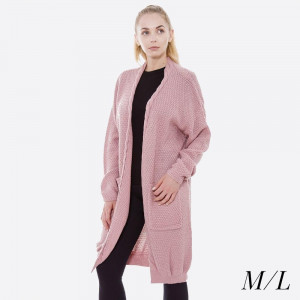 Long line cable knit cardigan with front pockets.  - Size: M/L - 100% Acrylic