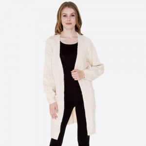 Long line cardigan with front pocket details.  - One size fits most 0-14 - 77% Acrylic, 15% Polyester, 8% Polyamide