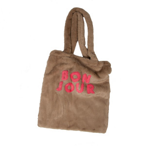 """Bonjour"" Faux fur 100% polyester tote. Approximate 13"" wide and 14.5"" long."
