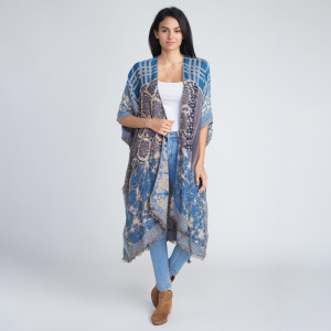 Long comfy mixed pattern kimono. 100% acrylic.   One size fits most.