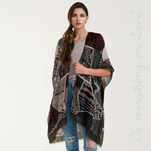 """Do everything in Love Brand Lightweight Mixed Print Kimono.  - One size fits most 0-14 - Approximately 37"""" L - 100% Viscose"""