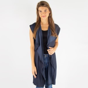 Waterfall lapel satin vest.   - One size fits most 0-14 - 100% Cotton