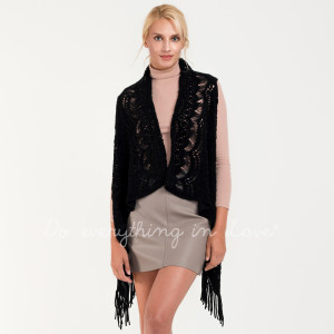 """Crochet knit vest with fringes.  - One size fits most 0-14  - Approximately 34"""" in length - 100% Acrylic"""