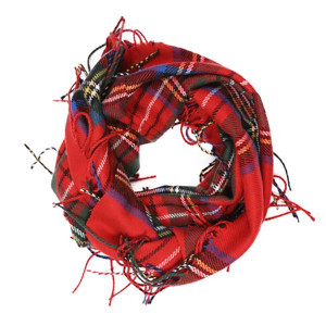 Infinity plaid scarf. 100% acrylic.