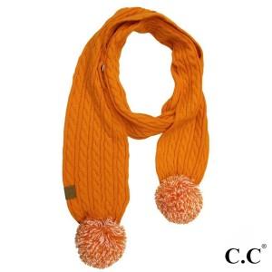 """C.C SK-56 Skinny scarf with knit pom  - 100% Acrylic - One size fits most - W: 12.5"""" X L: 59"""" + Pom: 4"""""""