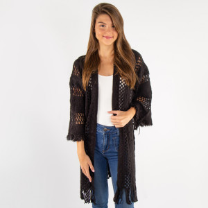 Gorgeous loose fitting crochet knit cardigan kimono. 100% acrylic.   One size fits most.