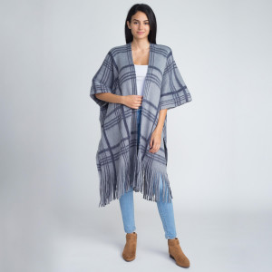 Heavyweight plaid print kimono. 100% acrylic.  One size fits most.