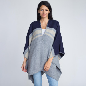 Ruana wrap with stripes. 100% acrylic.   One size fits most.