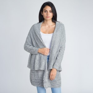 Waterfall cardigan. 55% acrylic and 45% cotton.   One size fits most.