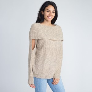 Off the shoulder sweater with cutout details.   - One size fits most 0-14 - 55% Acrylic, 45% Cotton