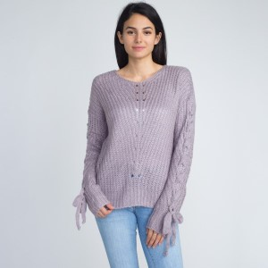 Lightweight sweater with arm tie detail.   - One size fits most 0-14 - 55% Acrylic, 45% Cotton