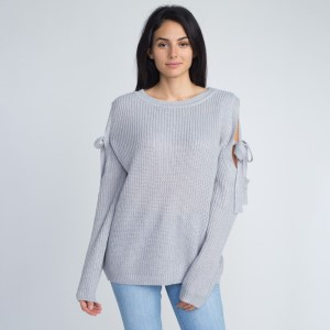 Lightweight sweater with open shoulder and tie detail.   - One size fits most 0-14 - 55% Acrylic, 45% Cotton