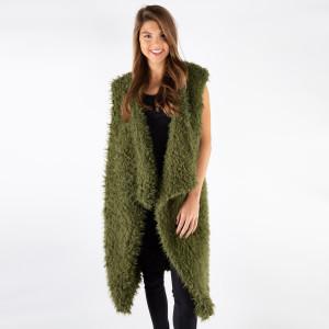 Very soft warm faux fur sleeveless vest.  100% Acrylic