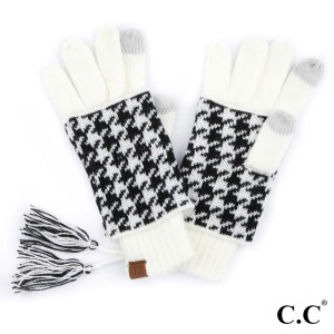 C.C CG-12 Houndstooth ribbed glove  - 100% Acrylic - One size fits most - Matches C.C HAT-12 and SF-12